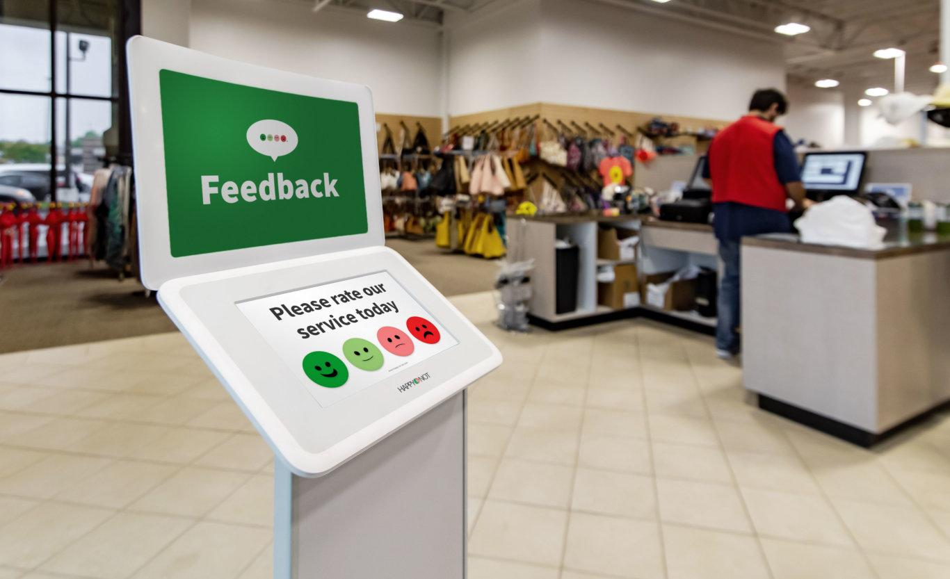 Smiley terminal collect customer feedback at Shoe station